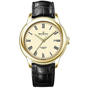 Dreyfuss & Co men's gold-plated black leather strap watch - Product number 1300903
