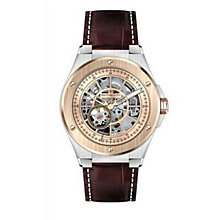 Dreyfuss & Co men's skeleton two tone burgundy strap watch - Product number 1301063