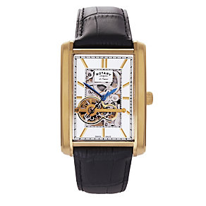 Rotary men's gold-plated brown leather strap watch - Product number 1301322