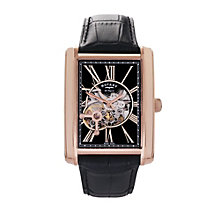 Rotary men's rose gold-plated black leather strap watch - Product number 1301330