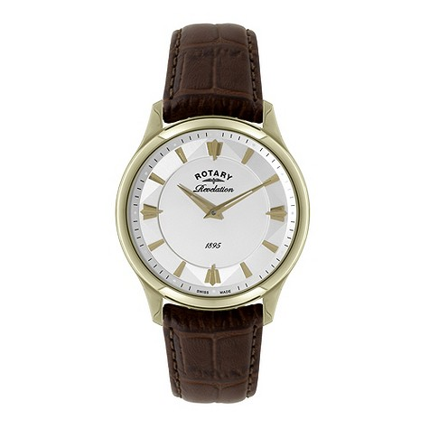 Rotary Revelation Men's Gold-plated Brown Strap Watch