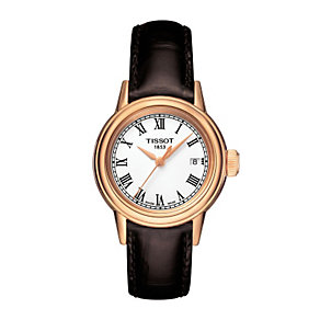 Tissot ladies' rose gold-plated brown leather strap watch - Product number 1302051