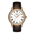 Tissot men's rose gold-plated brown leather strap watch - Product number 1302132