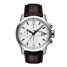 Tissot men's stainless steel black leather strap watch - Product number 1302183