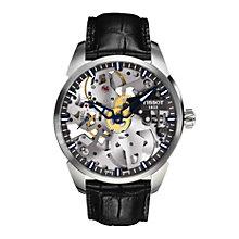 Tissot men's skeleton black leather strap watch - Product number 1302213