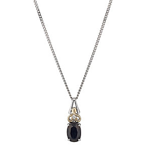 Silver & 9ct Yellow Gold Sapphire & Diamond Pendant - Product number 1302574