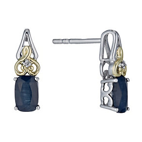 Silver & 9ct Yellow Gold Diamond & Sapphire Earrings - Product number 1302582