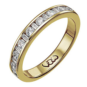Vow 9ct gold 0.50ct baguette & round diamond channel ring - Product number 1305395
