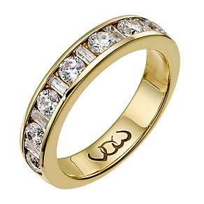 Vow 9ct gold one carat baguette & round diamond channel ring - Product number 1306979