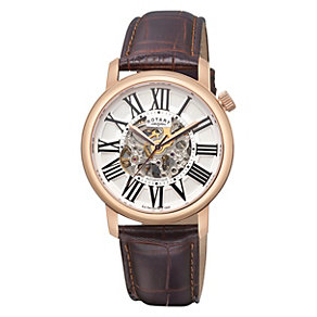 Rotary men's rose gold brown leather strap watch - Product number 1311751