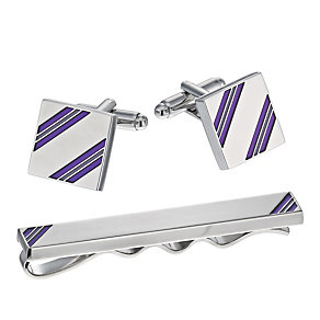 Purple Striped Tie Bar & Cufflinks Set - Product number 1311816