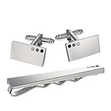 Rhodium Crystal Set Tie Clip and Cufflinks Set - Product number 1311891