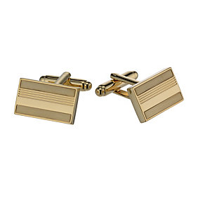 Gold-Plated Rectangular Brushed & Polished Cufflinks - Product number 1311913