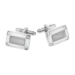 Rhodium Crystal Set Tonal Cufflinks - Product number 1311921