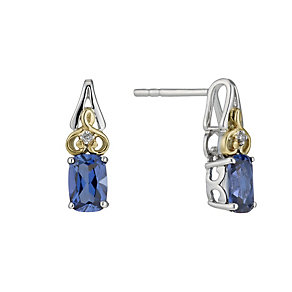 Silver & 9ct Gold Created Tanzanite & Diamond Stud Earrings - Product number 1312588