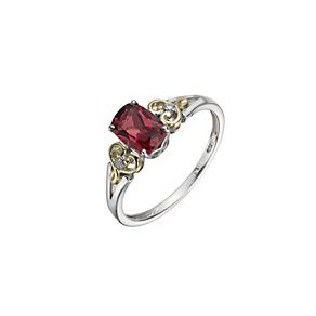 Silver & 9ct Yellow Gold Garnet & Diamond ring - Product number 1312766