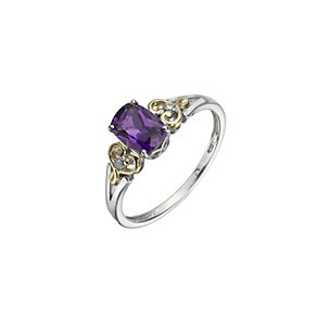 Silver & 9ct Yellow Gold Amethyst & Diamond Ring - Product number 1312898