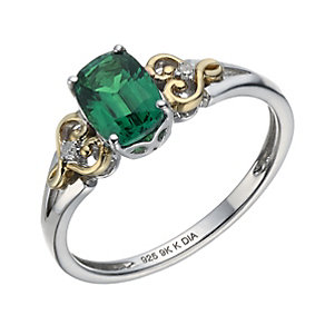 Silver & 9ct Yellow Gold Created Emerald & Diamond Ring - Product number 1313290