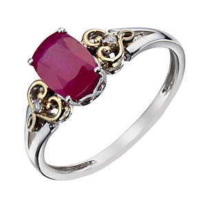 Sterling Silver & 9ct Gold Treated Ruby & Diamond Ring - Product number 1313673
