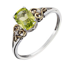 Sterling Silver & 9ct Gold Peridot & Diamond Ring - Product number 1313819