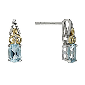 Sterling Silver & 9ct Gold Aquamarine & Diamond Earrings - Product number 1313967