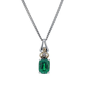 Silver & 9ct Yellow Gold Created Emerald & Diamond Pendant - Product number 1314009