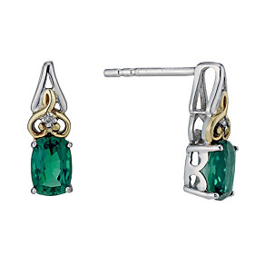 Silver & 9ct Yellow Gold Created Emerald & Diamond Earrings - Product number 1314017