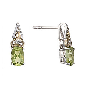 Sterling Silver & 9ct Gold Peridot & Diamond Stud Earrings - Product number 1314076