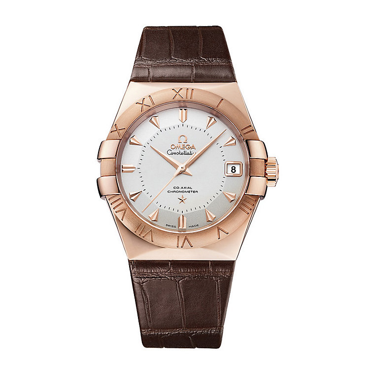 Omega Constellation men's 18ct rose gold brown strap watch - Product number 1314246