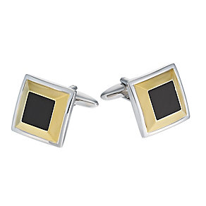 Square Gold-Plated Onyx Set Cufflinks - Product number 1314297