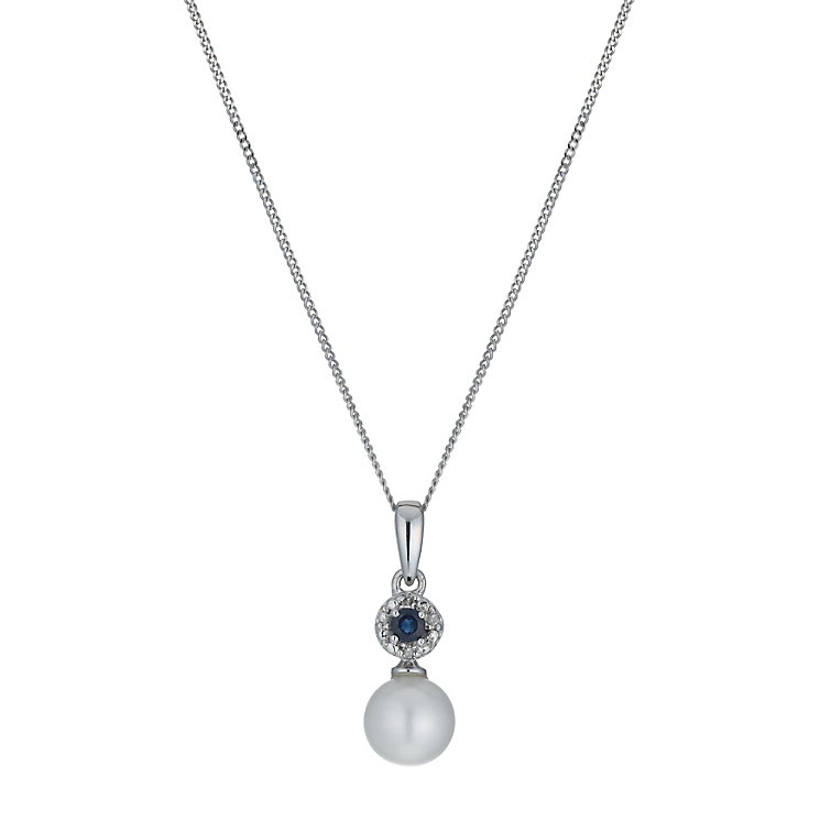 9ct White Gold Freshwater Pearl, Sapphire & Diamond Pendant - Product number 1316273