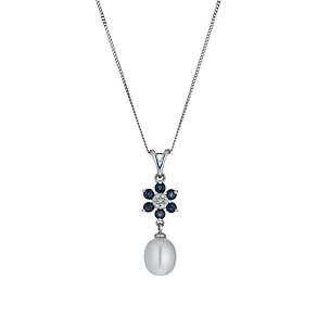 9ct White Gold Freshwater Pearl, Sapphire & Diamond Pendant - Product number 1316311