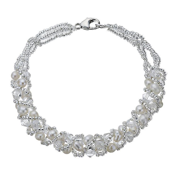 Sterling Silver Cultured Freshwater Pearl & Crystal Bracelet - Product number 1316524