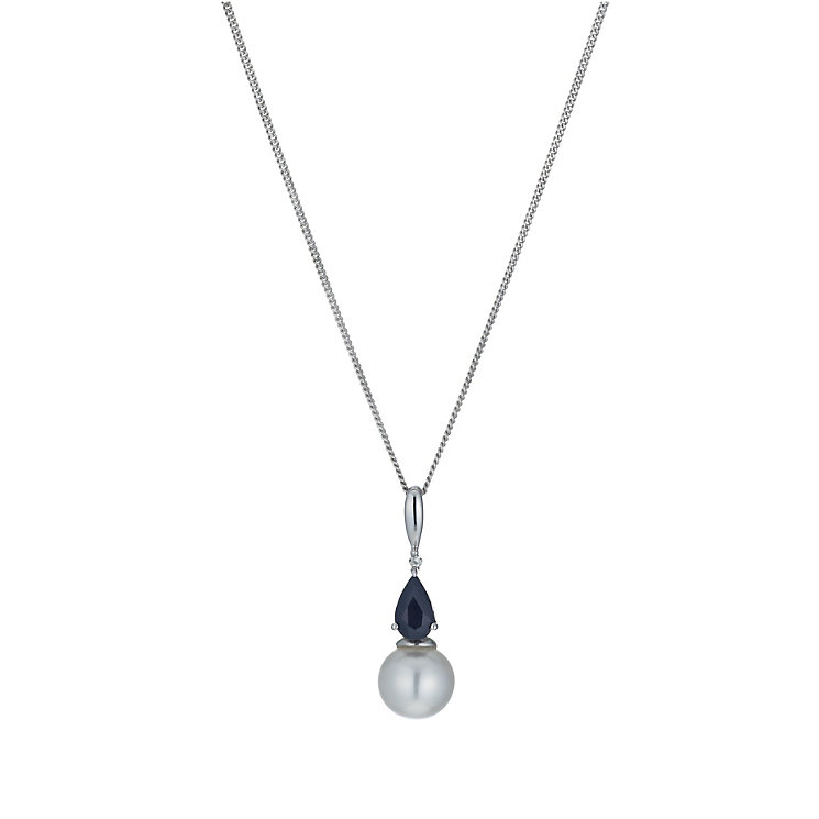 9ct White Gold Freshwater Pearl, Sapphire & Diamond Necklace - Product number 1316532