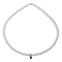 9ct White Gold Freshwater Pearl, Sapphire & Diamond Necklace - Product number 1317172