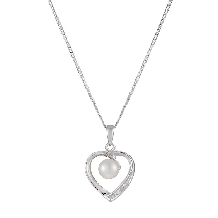 Sterling Silver Cultured Freshwater Pearl Heart Pendant - Product number 1317180