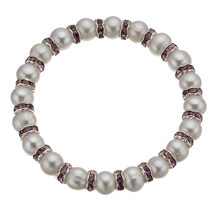 Silver & Purple Crystal Cultured Freshwater Pearl Bracelet - Product number 1318055