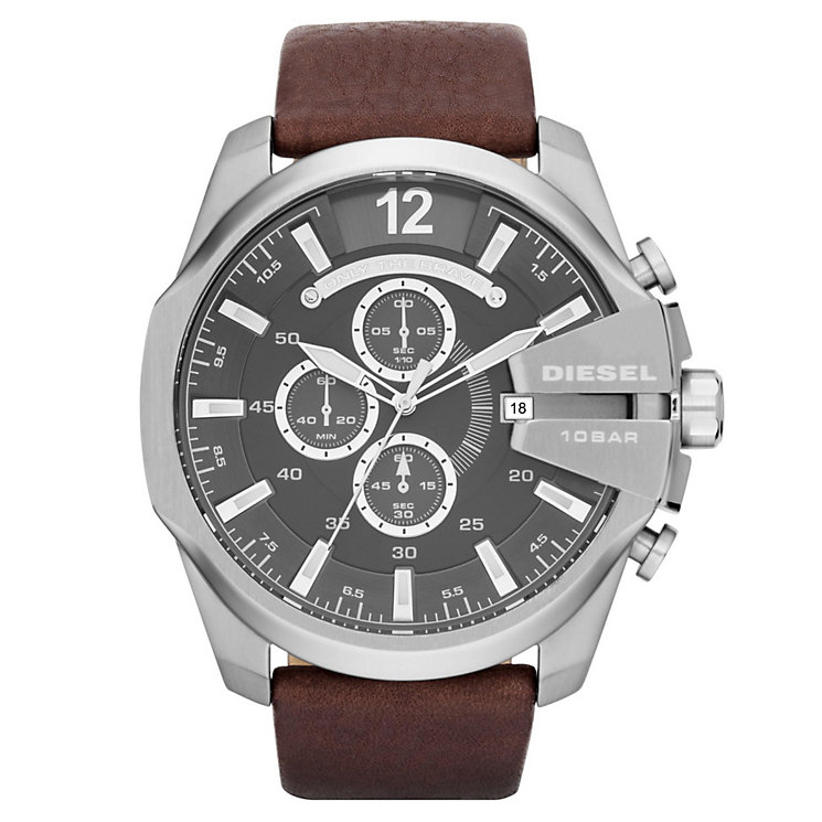 Diesel Mens Mega Chief Gunmetal Dial  Brown Strap Watch - Product number 1318659