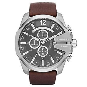 Diesel Men's Mega Chief Brown Leather Strap Watch - Product number 1318659