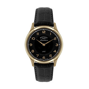 Rotary Revelation men's rose gold-plated black strap watch - Product number 1319086