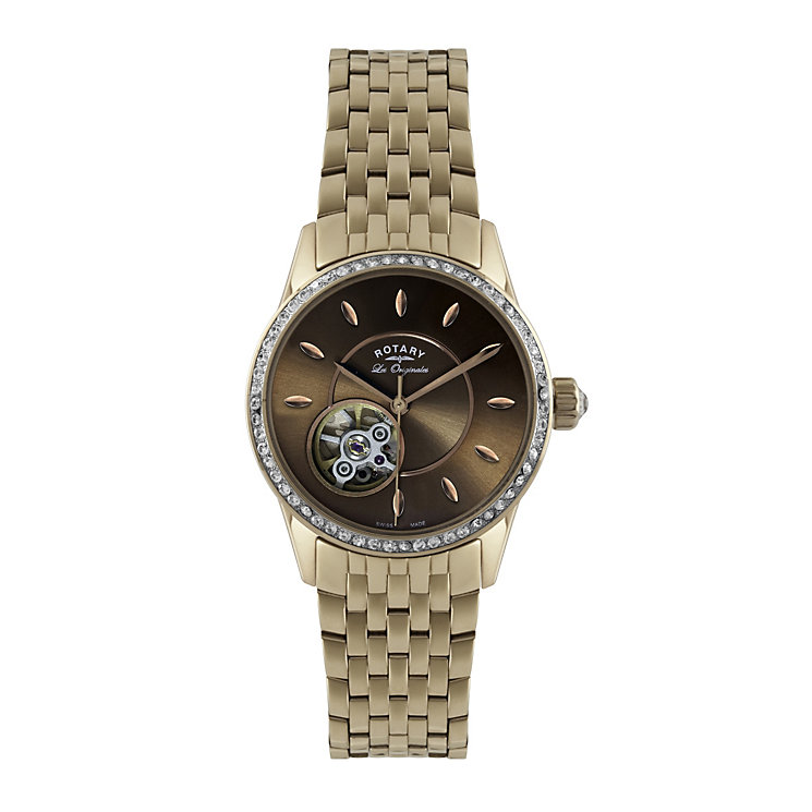Rotary Jura ladies' rose gold stone set bracelet watch - Product number 1319167