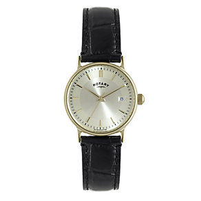 Rotary men's 9ct gold black leather strap watch - Product number 1319205