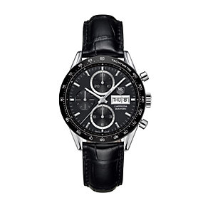 TAG Heuer Carrera men's stainless steel black strap watch - Product number 1321064