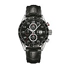 TAG Heuer Carrera men's steel black leather strap watch - Product number 1321803