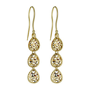 9ct yellow gold cut out three drop earrings - Product number 1321862