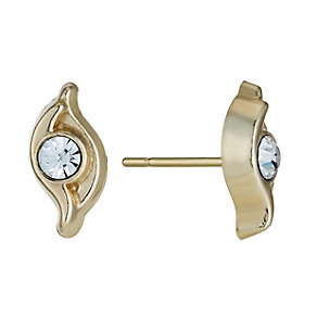 9ct Yellow Gold Crystal Swirl Stud Earrings - Product number 1322168