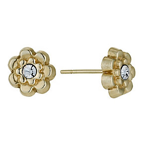 9ct Yellow Gold Crystal Flower Stud Earrings - Product number 1322192