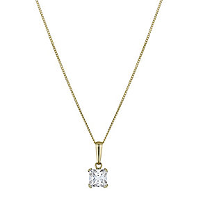 9ct Yellow Gold Square Cubic Zirconia Pendant - Product number 1322281