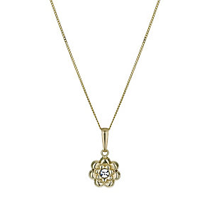 9ct Yellow Gold Flower Crystal Pendant - Product number 1322338