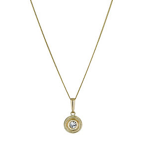 9ct Yellow Gold Double Circle Crystal Pendant - Product number 1322389